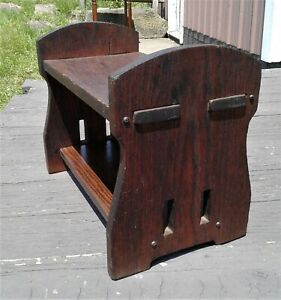 Antique Mission Oak Style Footstool and Book Rack 1920s Era