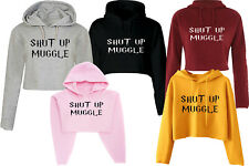 SHUT UP MUGGLE HOODED CROP HOODIE FUNNY HIPSTER FASHION TOP PULLOVER CROP