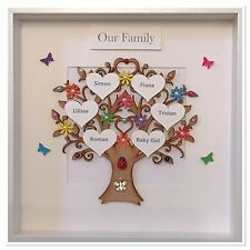 Personalised Our Family Tree Dog Cat Children Box Frame Colourful Christmas Gift