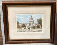 "Philip Martin Watercolor Print US CAPITOL SIGNED 301/2500 LTD ED 13.5X15.5"""