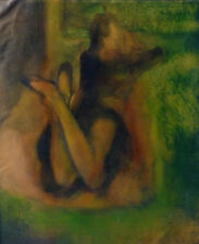 LECTRICE huile sur toile tableau original FEMME PORTRAIT de Frédéric BELAUBRE