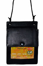 Genuine Cow Leather I.D. Card Badge Holder Wallet/Pouch w/ Black Neck Strap New