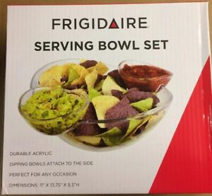 Frigidaire Serving Bowl Set - Acrylic Dipping bowls perfect for party tailgate