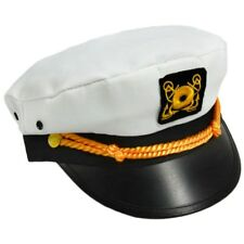 White Cotton Yacht Cap Captain Hat Costume Accessory Adult Sailor Navy Pilot New