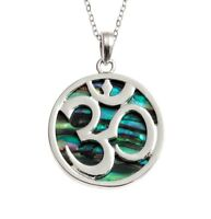 Tide Om Aum Paua Shell Necklace 18 Inch Tide abalone Jewellery Pendant Gift Box