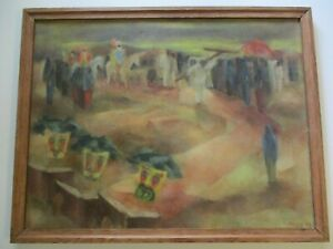 ANTIQUE VINTAGE OIL PAINTING TAOS CERMEONY AMERICAN REGIONALISM LARGE MODERNIST