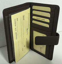 Rolfs Leather Checkbook Cover Wallet Brown Card holder in and out ID Windows