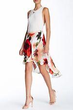 Haute Hippie Vintage Rose Asymmetrical Floral Print  Silk Skirt  $395 Size 8