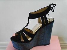 Womens shoe size 7 black and blue snakeskin wedge