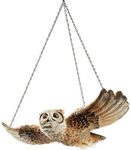 Gliding Forest Garden Hoot Owl Hanging Metal Chain Home Decoration Sculpture