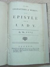 1735 Pope 'ON THE CHARACTERS OF WOMEN: AN EPISTLE TO A LADY' FINE BINDING