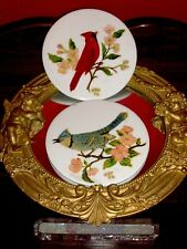 Antique Vintage Wheeling Ceramic Tile Trivet Red Bird Cardinalis Hand painted 6'