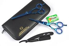 "6"" Professional Hairdressing Barber Salon Haircutting Scissors SET Blue Set"