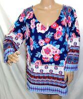 Fig & Flower Women Plus Size 1x 2x 3x Blue Pink Floral Tunic Top Blouse Shirt