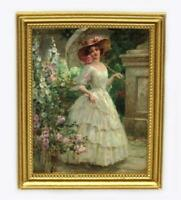 Dolls House Parasol in The Garden Painting Gold Frame Miniature Accessory 1:12