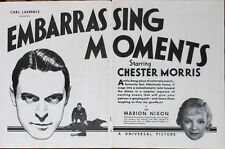 """CHESTER MORRIS - MARIAN NIXON - """"Embarrassing Moments""""  Trade Ad  1934  2 pages"""