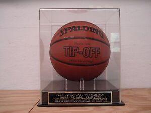 Karl Malone Basketball Display Case With A Utah Jazz Engraved Nameplate