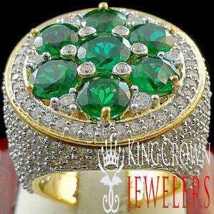 BIG XXL REAL YELLOW GOLD SILVER MENS GREEN EMERALD JUMBO RING BAND LAB DIAMOND