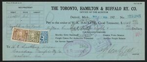 Canadian Revenues on Toronto, Hamilton & Buffalo Railway Co. check