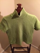 sweater Angora Rabbit Blend S/S Moc Neck SZ L Green MODA INT'L