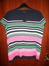 ladies Nine West short sleeved striped cotton top size L pink/black/white/green