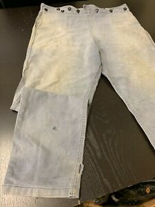 """Early 19th Century Man's Blue Denim Fall-Front Trousers - Used 38"""" Waist"""