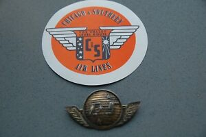 RARE C&S Chicago and Southern Airlines Stewardess Hat Wing Badge Lot