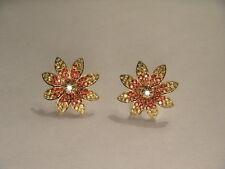 14k Yellow Gold Diamond Stud Flower Earrings