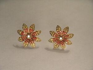 Estate 14K Yellow Gold Diamond Red Sapphire Flower Stud Earrings Studs