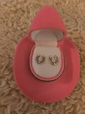 Lil Girls Cowboy western Horse Shoe - earrings Rhinestone , Cowboy Hat Box , new