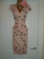 Vintage 40s 50s WW2 Style Bird Print Tea Peplum Wiggle Dress Size 14