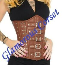 100% Leather Steampunk Corset Underbust Steel Boned Sizes 18-40""