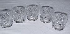 A Set of Five Cut Crystal WhiskyTumblers Spirit & Mixer Old Fashioned Glasses