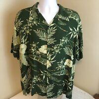 Thumbs-Up Mens Shirt Floral Hawaiian Camp Large Green Short Sleeve Free Shipping