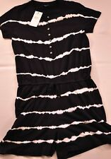 women's AMERICAN LIVING black & white short romper size X Large cotton MsRP $60