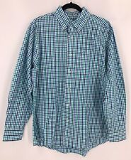 Southern Tide Sz M Gingham Plaid Check L/S Button Collar Dress Shirt Blue Green