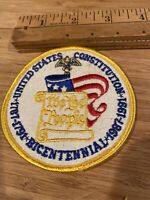 "Vintage UNITED STATES CONSTITUTION BICENTENNIAL 1787-1791 +USA FLAG - 3.5"" Patch"