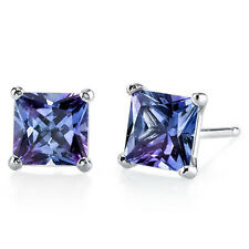14k White Gold Princess Cut Created Alexandrite Gemstone Stud Earrings 1.25 CTW