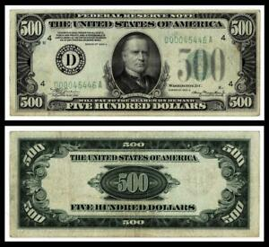 1934-A $500  FEDERAL RESERVE NOTE. CLEVELAND,OHIO