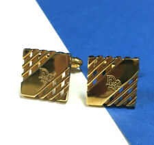 Vintage Couture CHRISTIAN DIOR Logo Men's Cuff Links Gold Plated Square AA152o