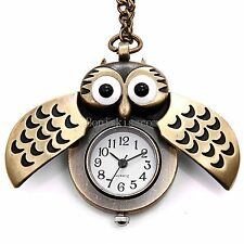 Vintage Retro Owl Wings Bronze Tone Open Face Pocket Watch Pendant Necklace