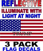 3 PACK - TRUMP   -REFLECTIVE American Flag USA Decal - PATRIOTIC STICKERS