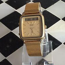 Seiko H357-509A alarm chronograph gold tone men's watch