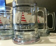 Princess House:Sailboat And Lighthouse Glass Mug-Set of 6 Mugs