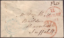 1849 STAMPLESS VISITING CARD ENVELOPE 'PAID/HERTFORD/1D' RED CANCEL & MORE