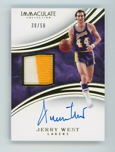 2015-16 Panini Immaculate Jerry West Game-Worn Patch Auto PA-JWE #/50