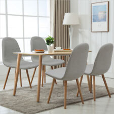 Grey Fabric Seat Set Design Chairs Dining Room Kitche Chair Oak Legs Backrest X4