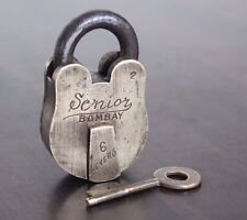 1925s Old Antique Beautiful Handmade SENIOR BOMBAY Marked ALIGARH Brass Pad Lock