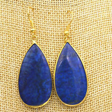 New Natural lapis lazuli 18K gp Gold-plated Handmade Water Earring
