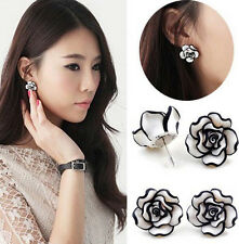 New Fashion Cute Elegant Lady Earring Black And White Rose Flower Studs Earrings